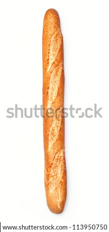 Baguette on white background with clipping path