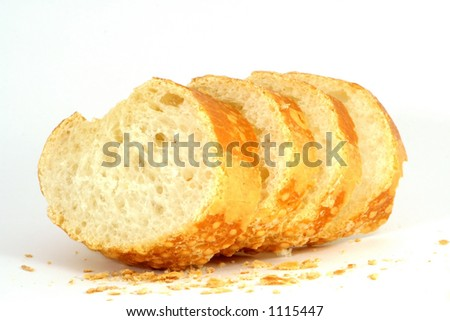 Baguette slices idolated