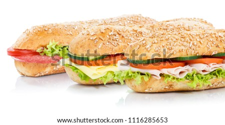 Baguette sub sandwiches salami ham cheese whole grains #1116285653