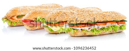 Baguette sub sandwiches with salami ham cheese salmon fish whole grains fresh isolated on a white background #1096236452