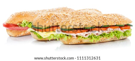 Baguette sub sandwiches with salami ham cheese whole grains fresh isolated on a white background #1111312631