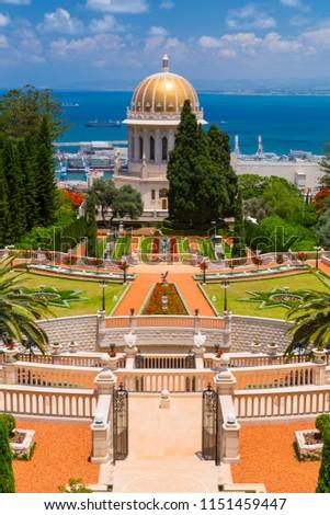 Bahai Gardens, a holy temple of the Bahai faith built on Mount Carmel in Haifa, Israel.