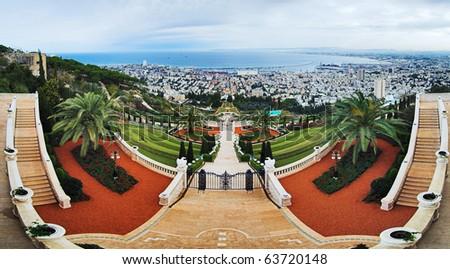 Bahai Gardens in Haifa, Israel - stock photo