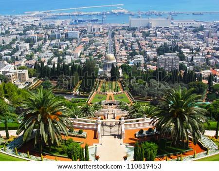 Bahai Gardens in Haifa, Israel, with an overview of Haifa Mount Carmel, Mount Carmel