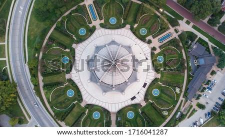 Bahai House of Worship (Bahá'í) Chicago Illinois Aerial Drone Shot