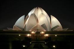 Bahai lotus temple at night in delhi, india