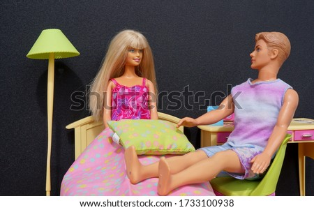 Bahia, Brazil. May 12, 2020. Dolls in Barbie's bedroom. Barbie and Ken. Editorial use only.