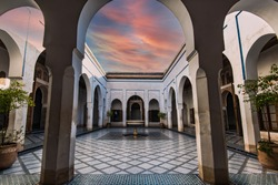 Bahia Palace with Traditional Arabic Tiles and Fountain, Marrakesh in Morocco.