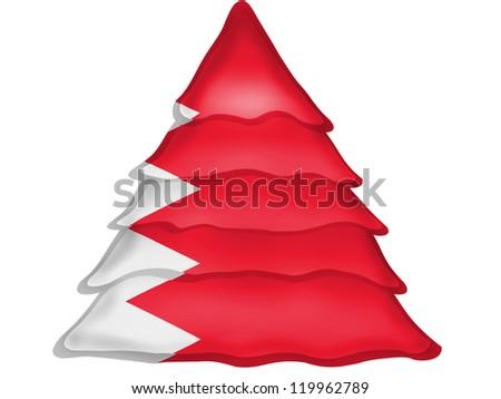Bahrain flag painted on Christmas xmas tree icon
