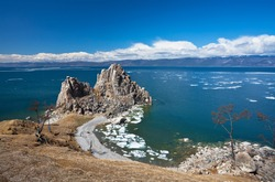 Baikal Lake. Olkhon Island in spring time