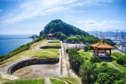Baimiweng Fort with morning blue bright sky, shot in Zhongzheng District, Keelung, Taiwan.