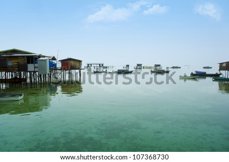 bajau laut village seascape at morning