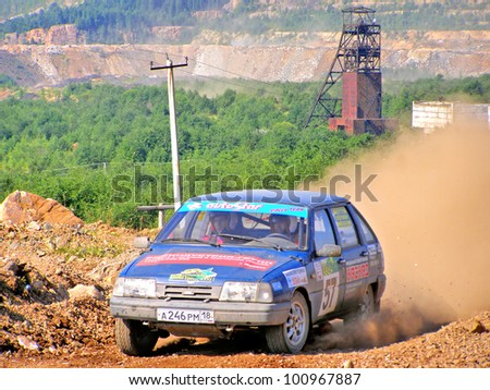 BAKAL, RUSSIA - AUGUST 4: Alexander Gavrilov's IZH-2126 Oda (No. 57) competes at the annual Rally Southern Ural on August 4, 2007 in Bakal, Satka district, Chelyabinsk region, Russia.