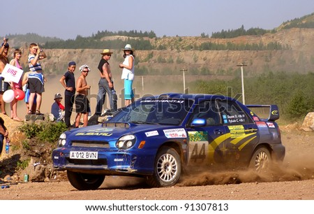 BAKAL, RUSSIA - AUGUST 4: Oleg Balyuk's Subaru Impreza (No. 44) competes at the annual Rally Southern Ural on August 4, 2007 in Bakal, Satka district, Chelyabinsk region, Russia.