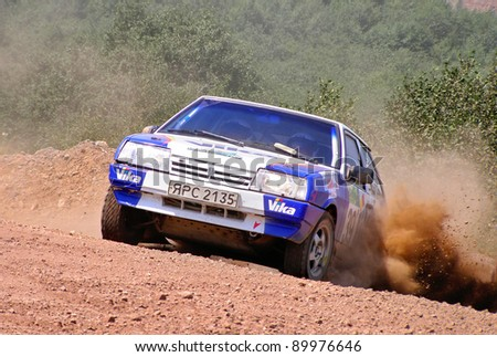 BAKAL, RUSSIA - AUGUST 4: Sergey Lastochkin's LADA Samara (No. 39) competes at the annual Rally Southern Ural on August 4, 2007 in Bakal, Satka district, Chelyabinsk region, Russia.