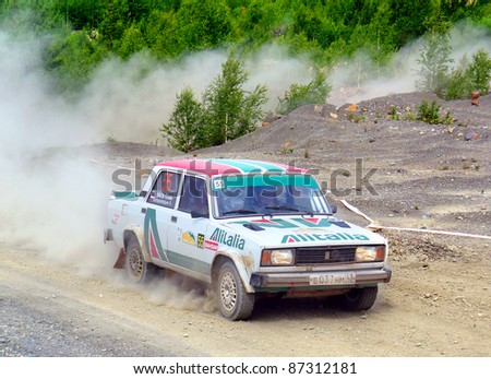 BAKAL, RUSSIA - JULY 9: Klim Baykov's LADA Zhiguli (No. 55) competes at the annual Rally Southern Ural on July 9, 2011 in Bakal, Satka district, Chelyabinsk region, Russia.