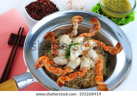 Bake crab with vermicelli and herb -  (chinese style)