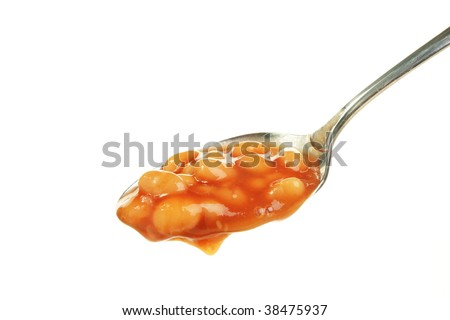 baked beans in a spoon isolated against white