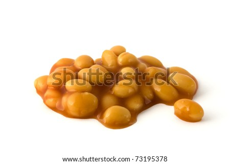 Baked beans in tomatoe sauce isolated on a white background