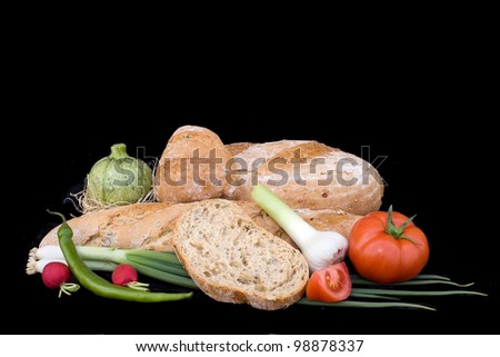 Baked Bread Goods isolated on Black Background
