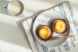 Baked cheese tart for morning breakfast