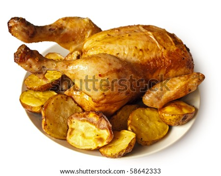 Baked chicken with potatoes over white background