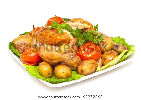 baked chicken with vegetables isolated