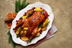 Baked christmas goose stuffed with apples on a white dish over light slate, stone or concrete background. Top view with copy space.