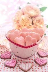 Baked cookies in heart shape