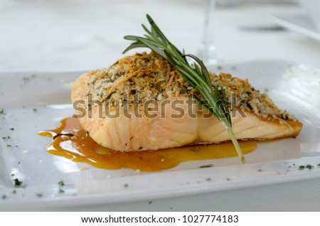 Baked Crusted Salmon with rosemary