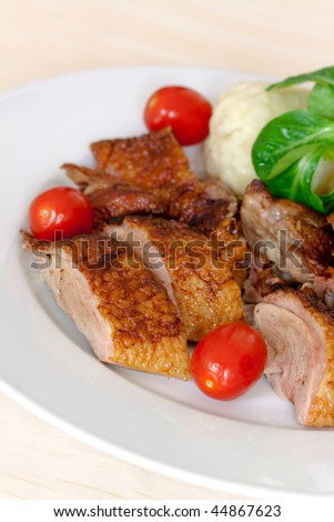 Baked Duck Slices with Dumplings,Cherry Tomatoes,Green Salad
