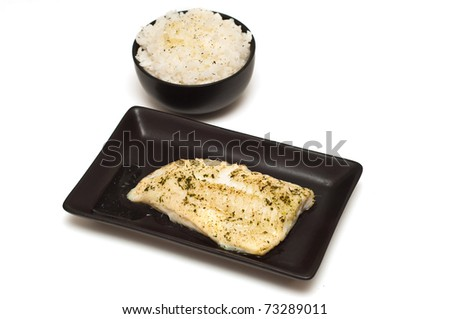 Baked fish fillet and rice