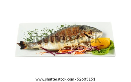 baked fish isolated