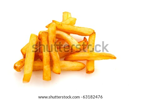 Baked golden French fries isolated over white
