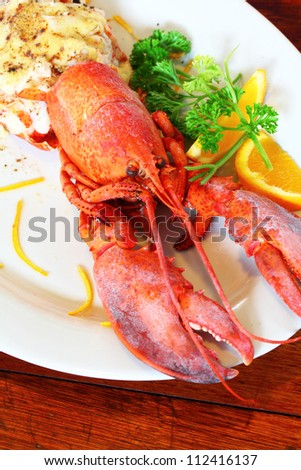 Baked lobster with cheese, macro closeup for design work