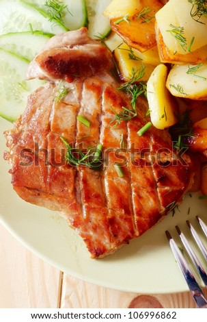 baked meat and potato