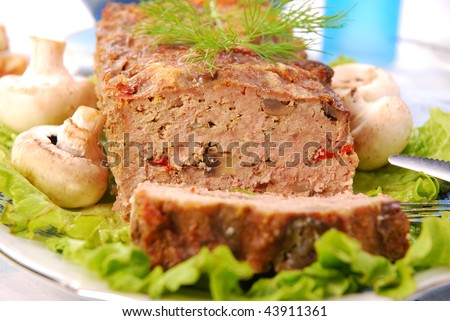 baked meatloaf with mushrooms and paprika