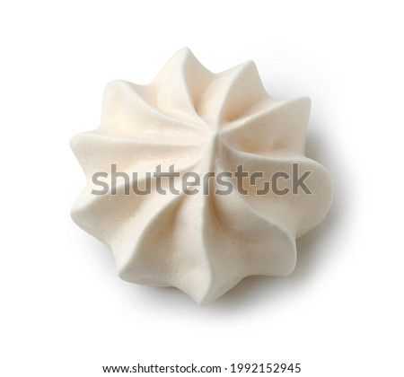 baked meringue cookie isolated on white background, top view Foto d'archivio ©