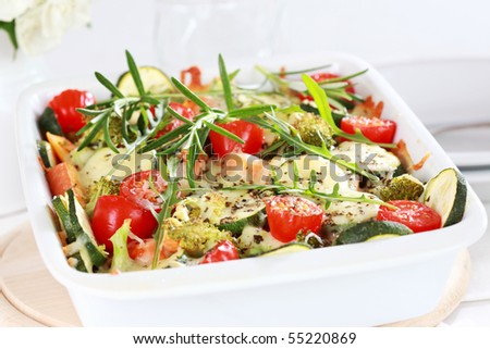 Baked mixed vegetable with cheese and herbs