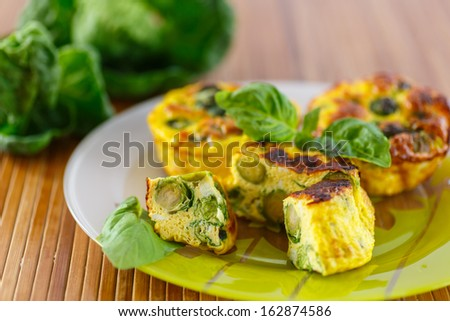 baked omelet with brussels sprouts on a plate