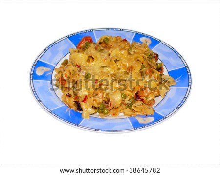 Baked pasta with cheese and fresh vegetables - stock photo