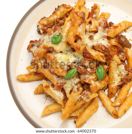 Baked penne pasta with bolognese sauce and cheese.