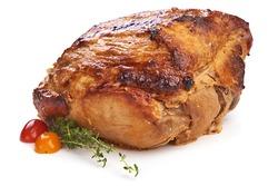 Baked pork roast, spicy glazed meat, isolated on white background.