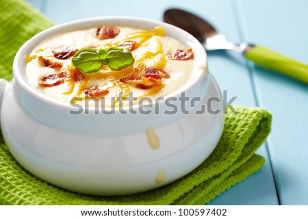Baked potato soup with cheese and bacon
