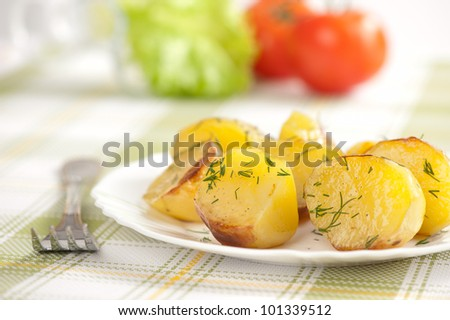 Baked potatoes on a plate