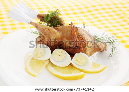 baked quail with the lemon and the eggs