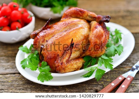 Baked (roasted) whole chicken. Delicious homemade food. #1420829777