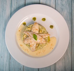 Baked sole fillet, risotto and pesto recipe