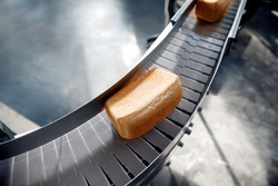 Baked square breads on conveyor food automatic production line bakery from hot oven, top view.