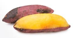 Baked sweet potato isolated on white background, Japanese Roasted Sweet Potato on white background.